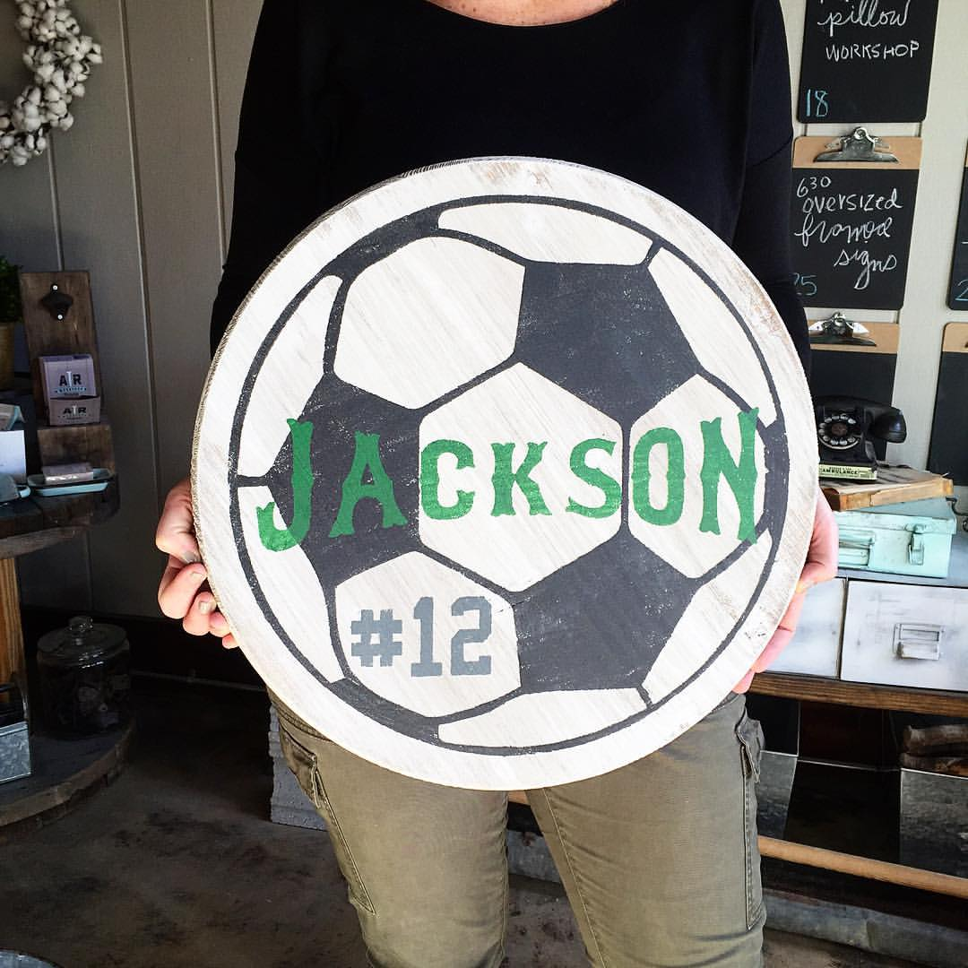 round sports wood sign soccer