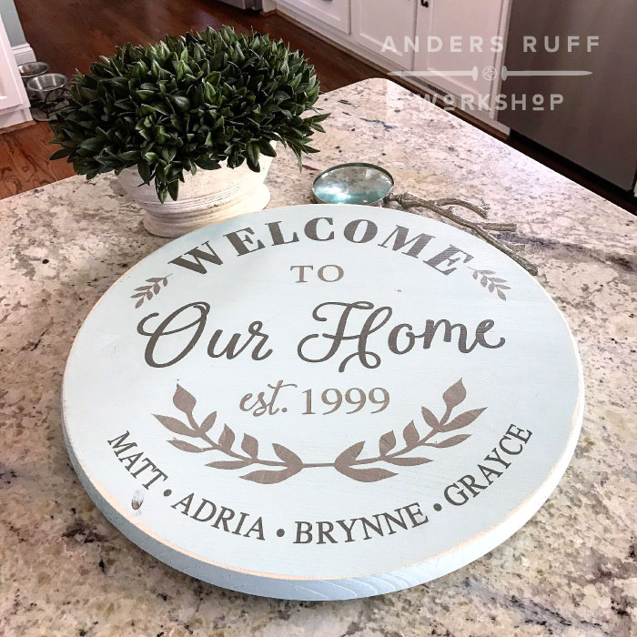 welcome to our home lazy susan round welcome established sign