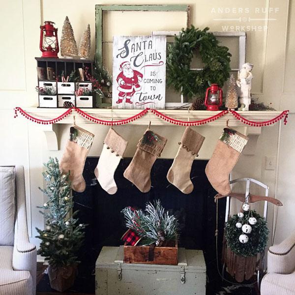 christmas plank sign santa sign santa wood sign