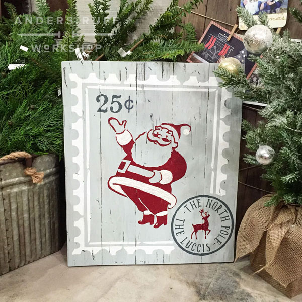 santa postage stamp wood sign customized christmas decor