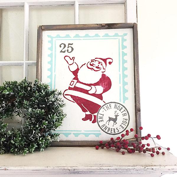 santa stamp north pole wood sign christmas decor