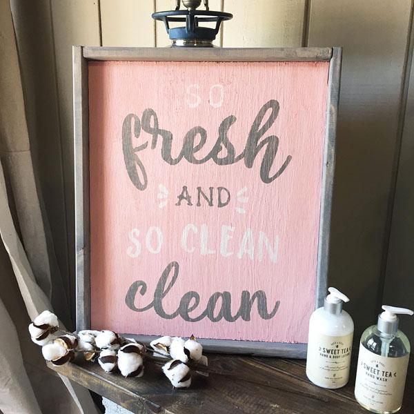 so fresh and so clean wood sign bathroom decor diy