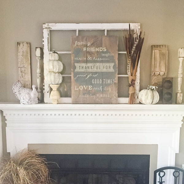 thankful for wood sign thanksgiving mantle decor
