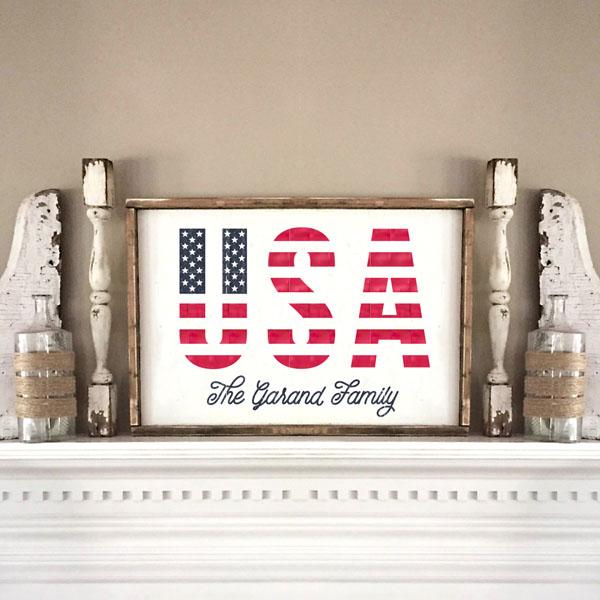 usa flag wood sign family name decor