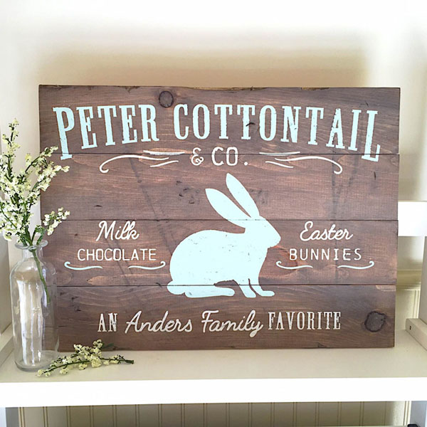 peter cottontail easter wood sign pallet customized diy