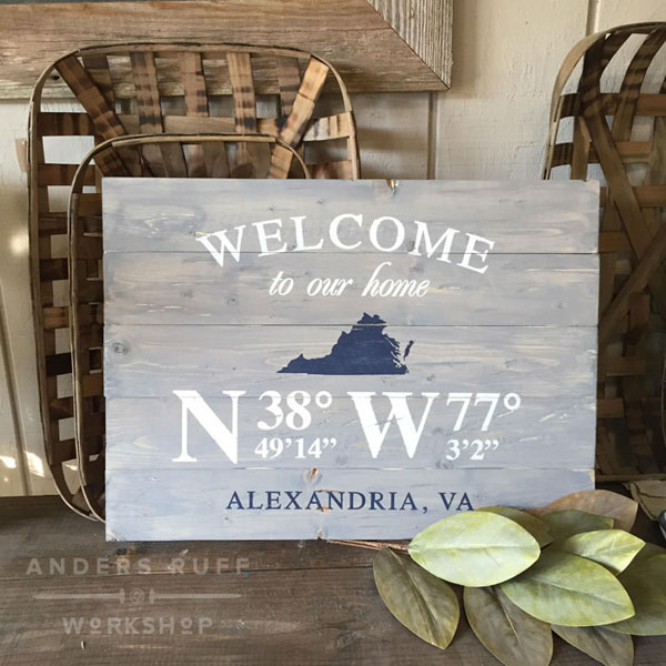 home coordinates wood sign pallet customized