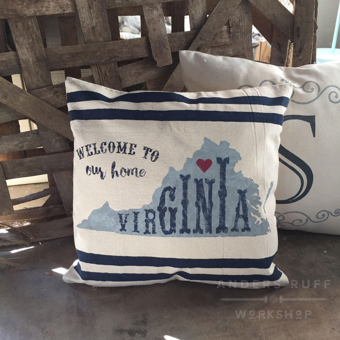welcome home state pillow stripes