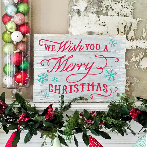 we wish you a merry christmas wood pallet sign
