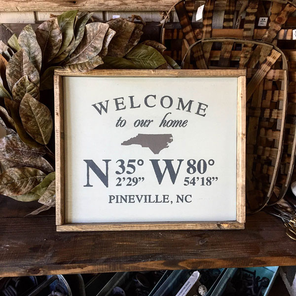 home coordinates wood sign state customized decor
