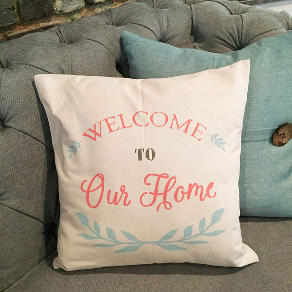 welcome to our home decor pillow