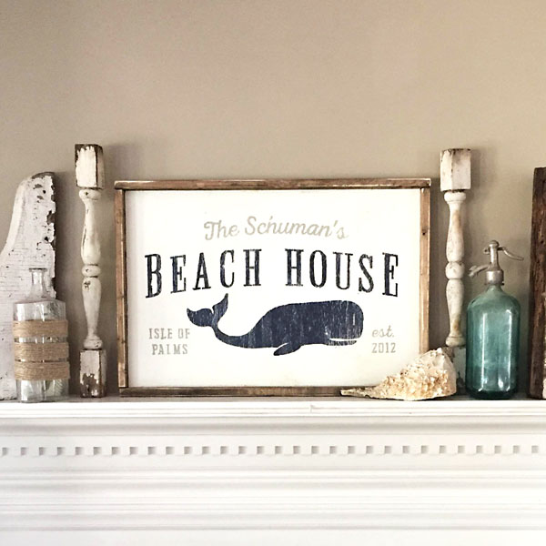 beach house wood sign family name customized