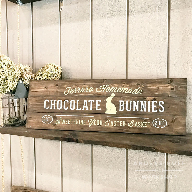 chocolate bunnies easter sign wood plank sign making class