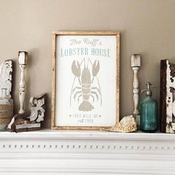 lobster house wood sign beach decor