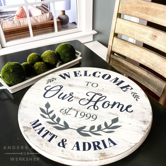 welcome round sign lazy susan