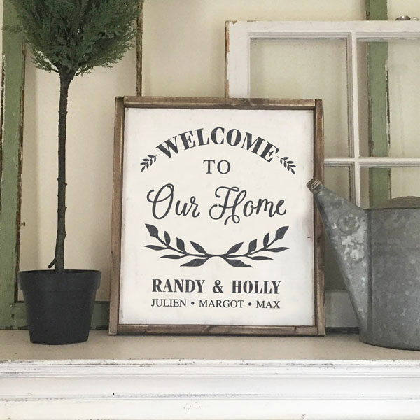 welcome to our home wood sign family name customized