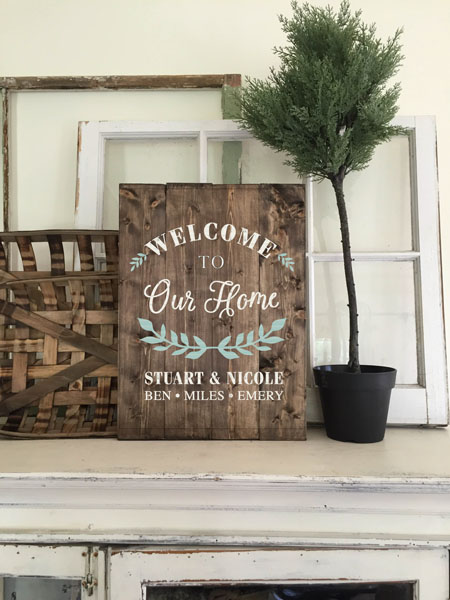 welcome to our home wood sign family names customized