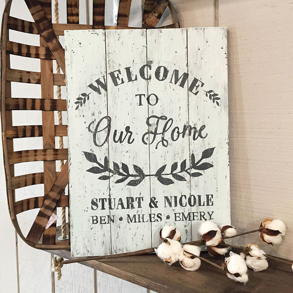 welcome wood sign customized names pallet sign