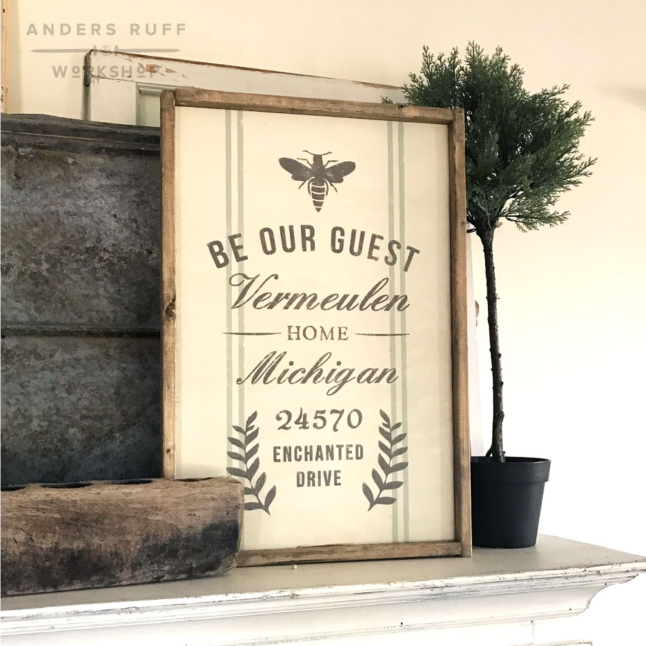 be our guest framed sign guestroom