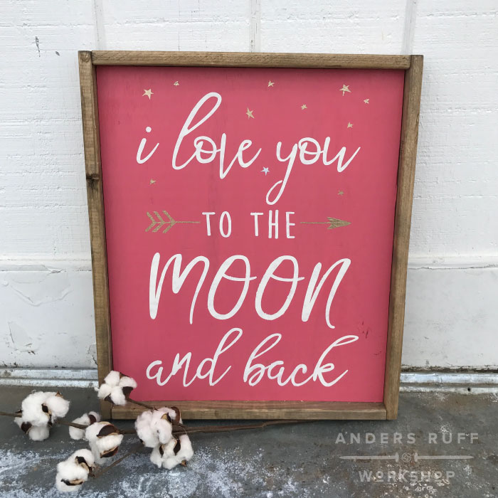 love you to the moon wood framed sign diy