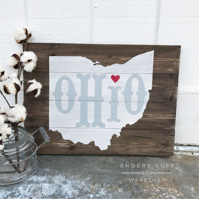 wood sign ohio state map diy