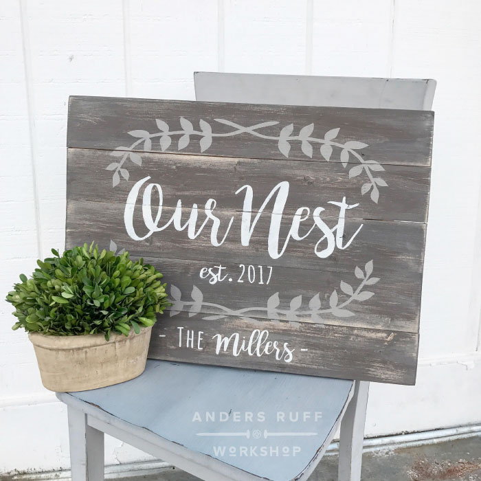 our nest plank wood sign diy