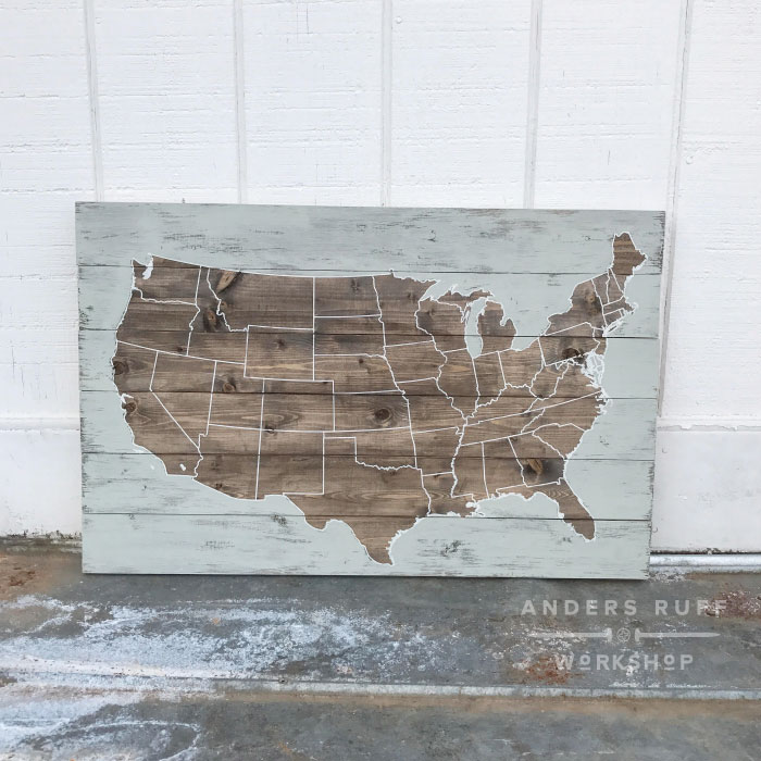 USA map plank wood sign