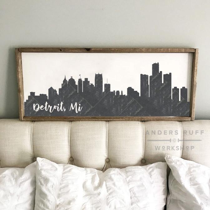 detroit wood sign