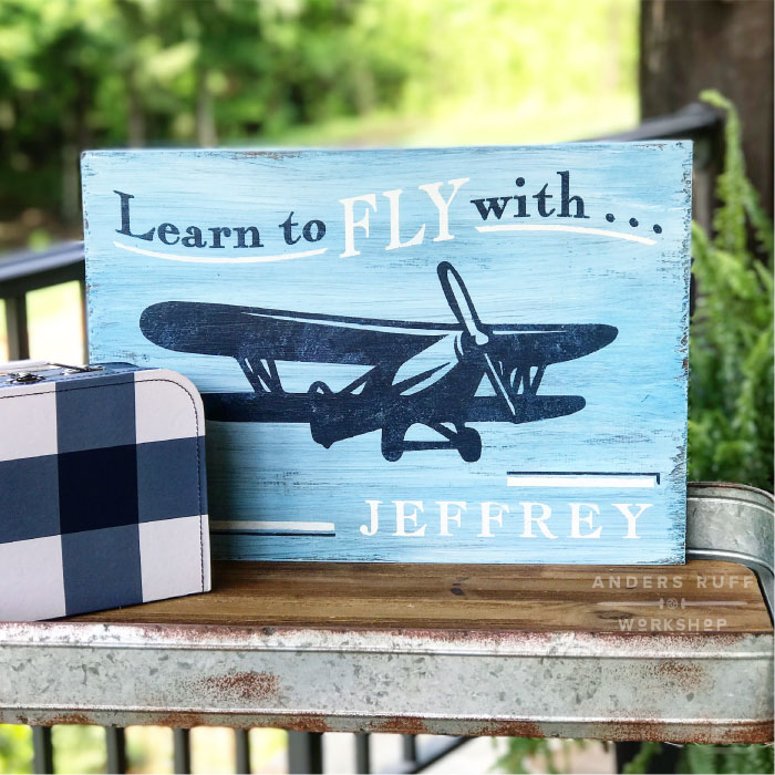 learn to fly airplane sign youth diy