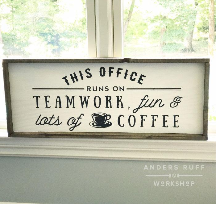 diy wood office teamwork fun coffee sign