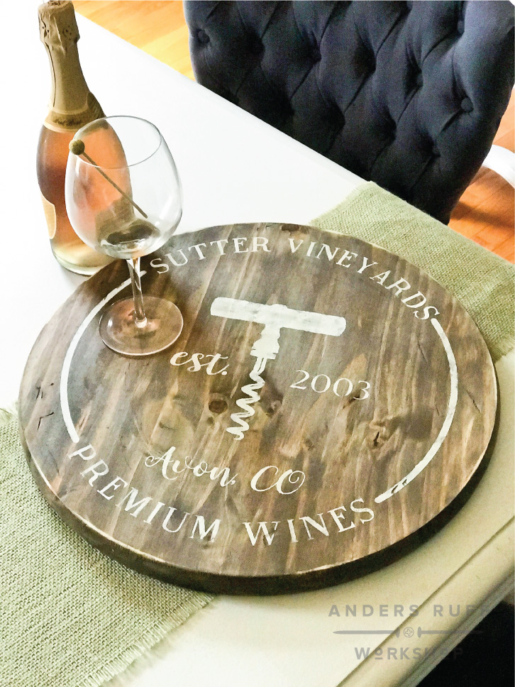 round wood winery sign