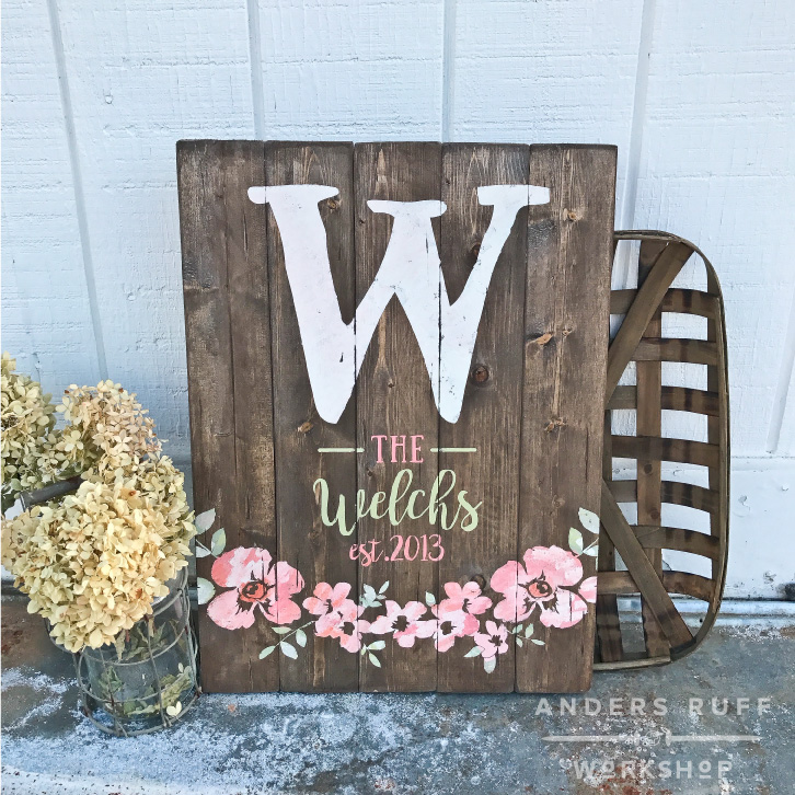 floral monogram wood sign watercolor