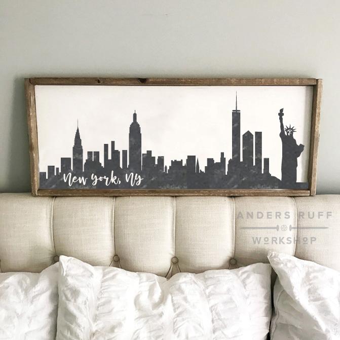 new york city skyline framed sign diy