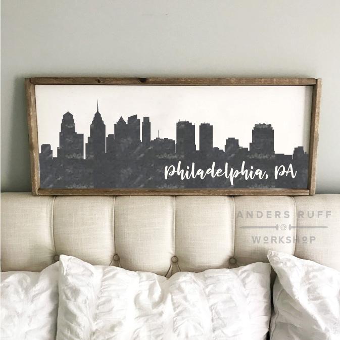 philadelphia skyline wood sign