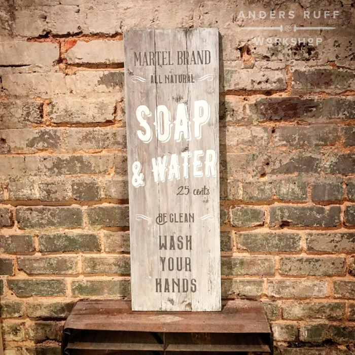 soap and water vertical plank wood sign