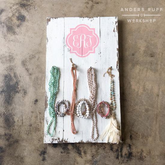 quatrefoil monogram jewelry organizer board