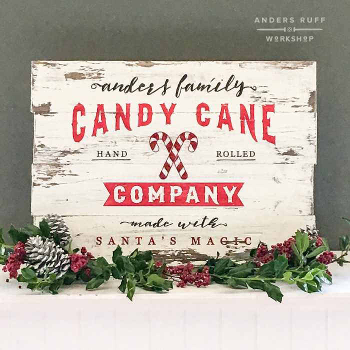 christmas candy cane company sign diy