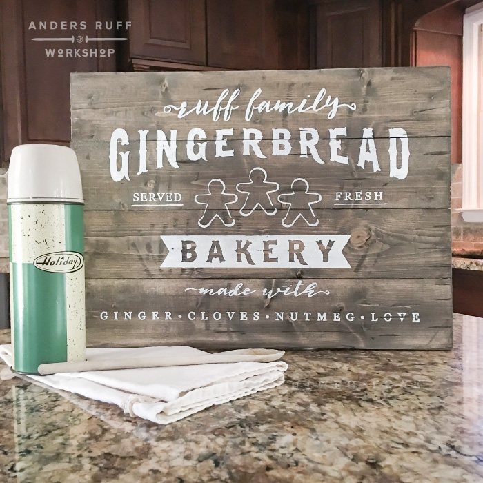 gingerbread bakery custom wood sign christmas