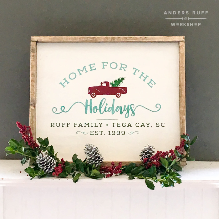 home for the holidays truck framed sign diy
