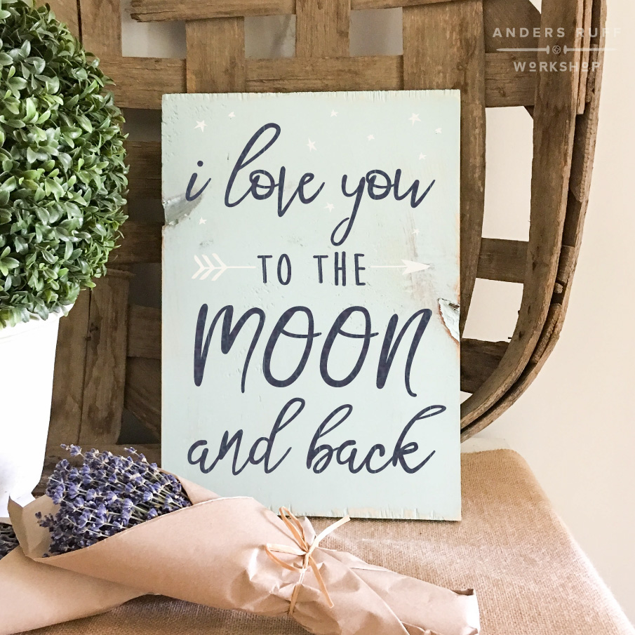 i love you to the moon plank wood sign 12x16