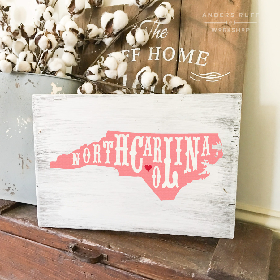 north carolina state typography plank sign 12x16