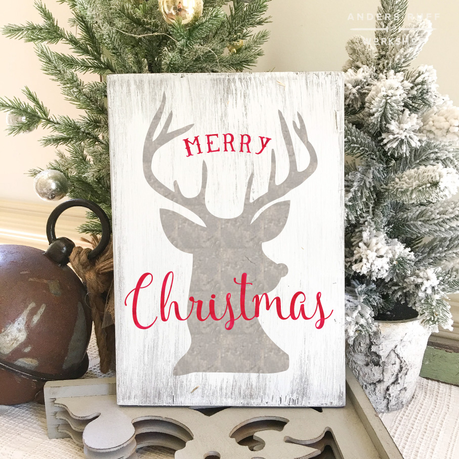 rudolph merry christmas plank sign 1216 - Christmas Wooden Signs