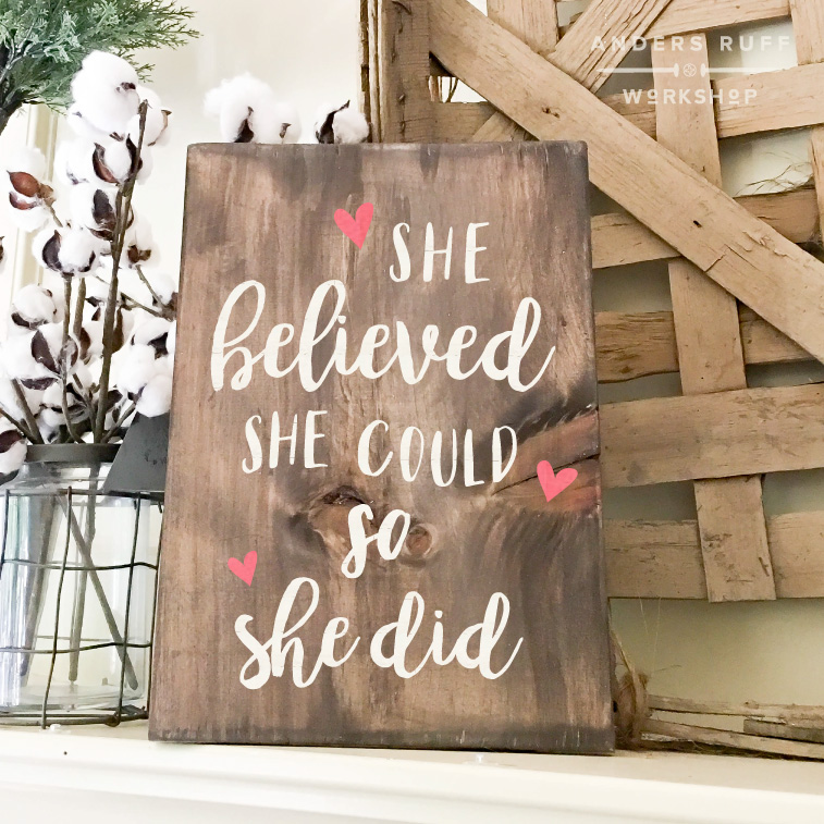 she believed she could plank youth sign 12x16