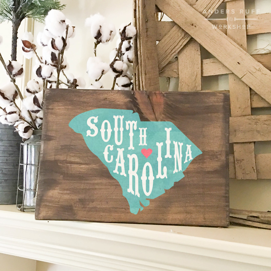 south carolina state typography wood sign 12x16