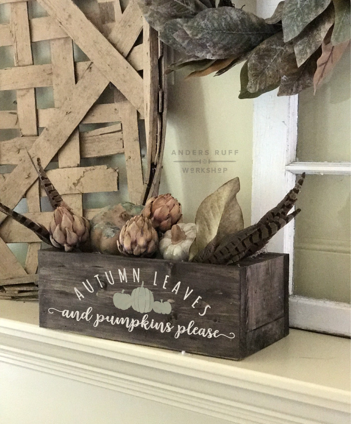 autumn leaves and pumpkin please centerpiece box