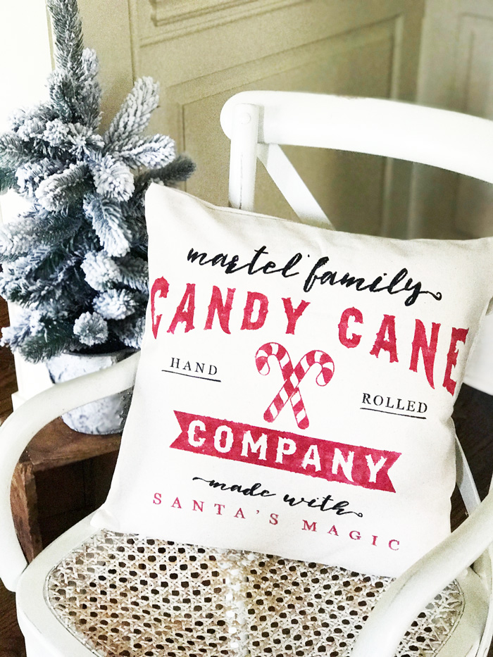 candy cane company pillow diy canvas cover
