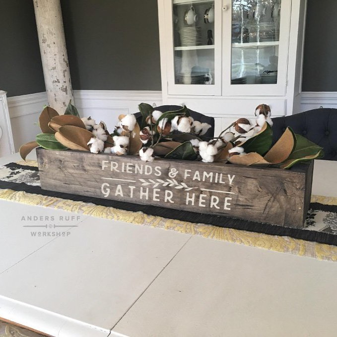friends and family gather here centerpiece box diy