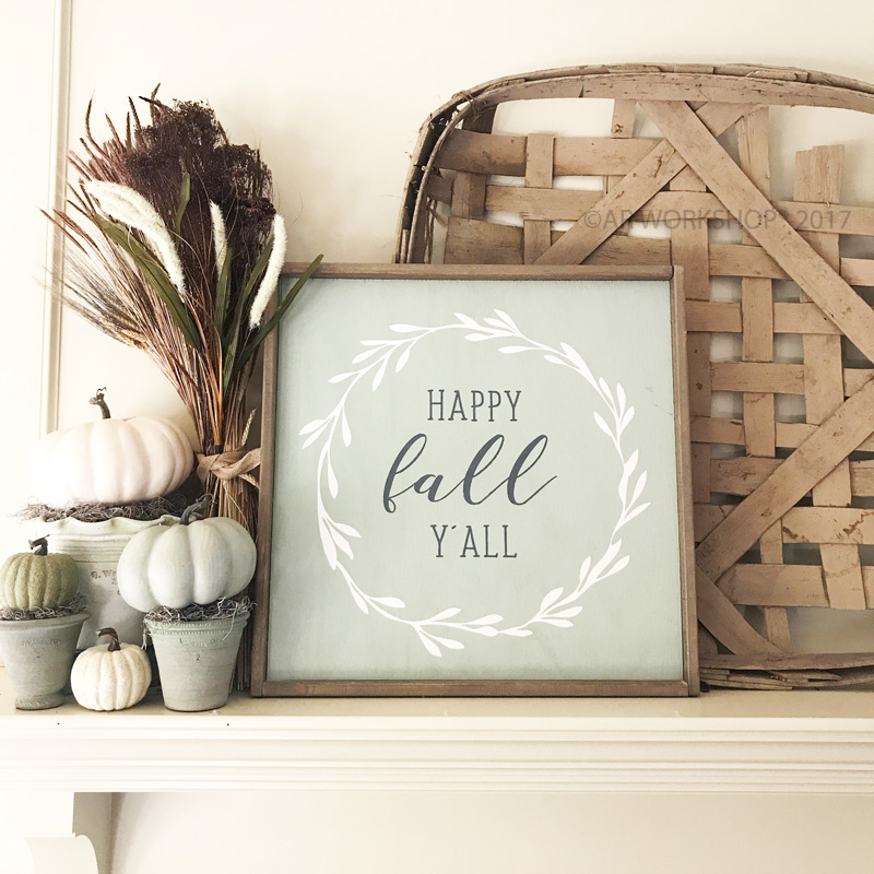 happy fall yall framed wood sign