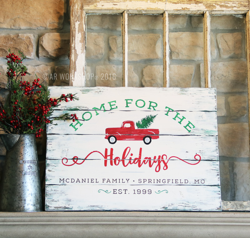 vintage christmas tree truck wood sign