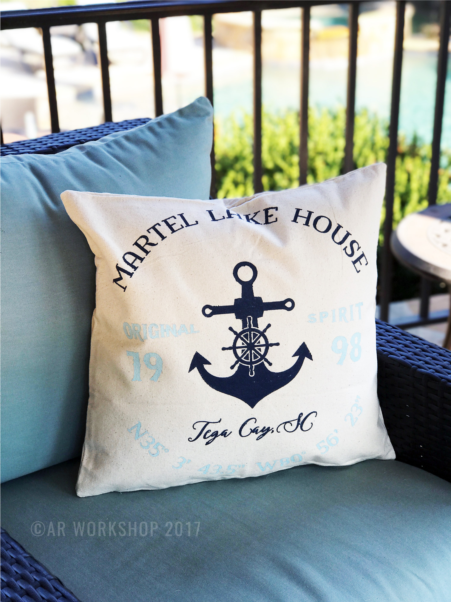 lake house anchor coordinates pillow diy canvas