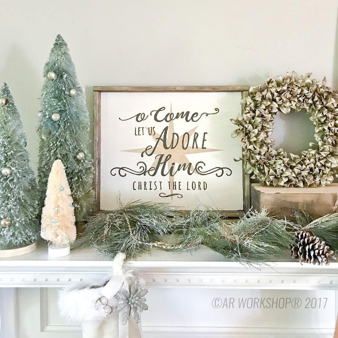 Get ready for the holidays framed wood sign or centerpiece box o come let us adore him framed wood sign 1821 solutioingenieria Images